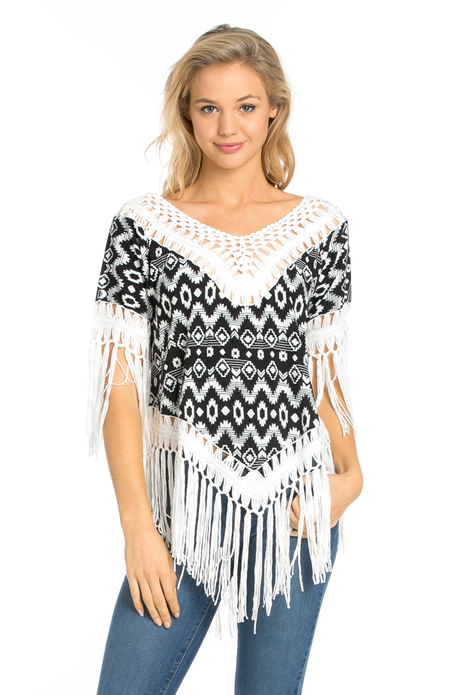 SHORT SLEEVE TRIBAL PRINT TOP - orangeshine.com