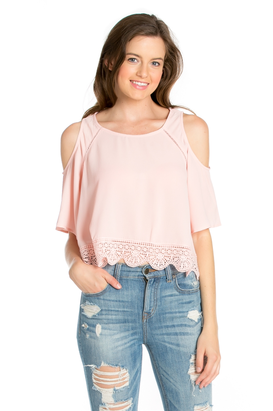 KOSHIBO TOP W/ LACE TRIM - orangeshine.com