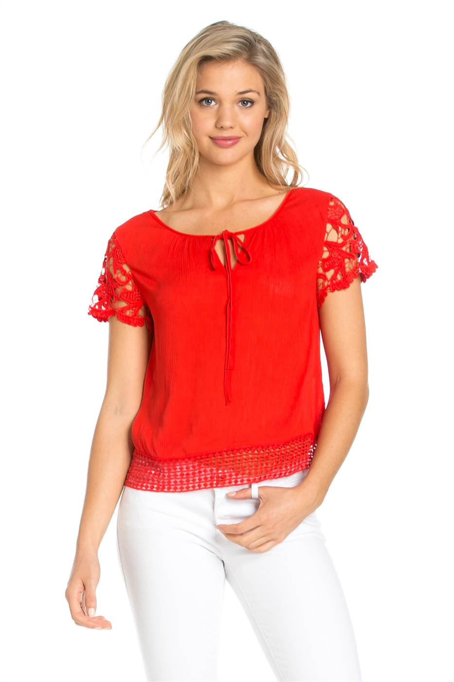 SHORT SLEEVE CROCHET TOP - orangeshine.com
