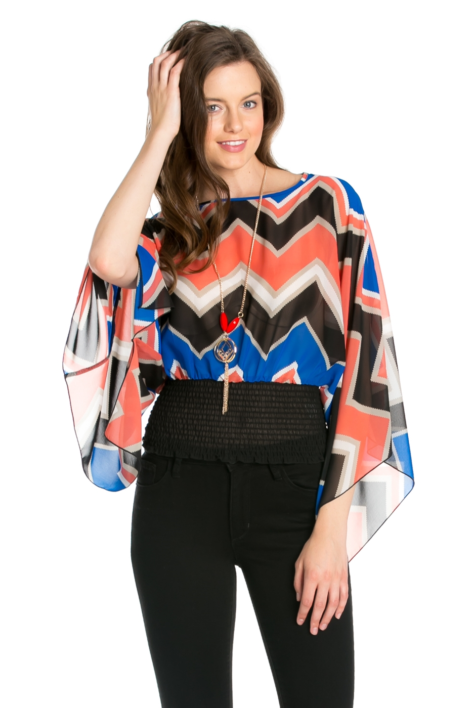 HMC PRINT WAIST SHIRRING TOP - orangeshine.com