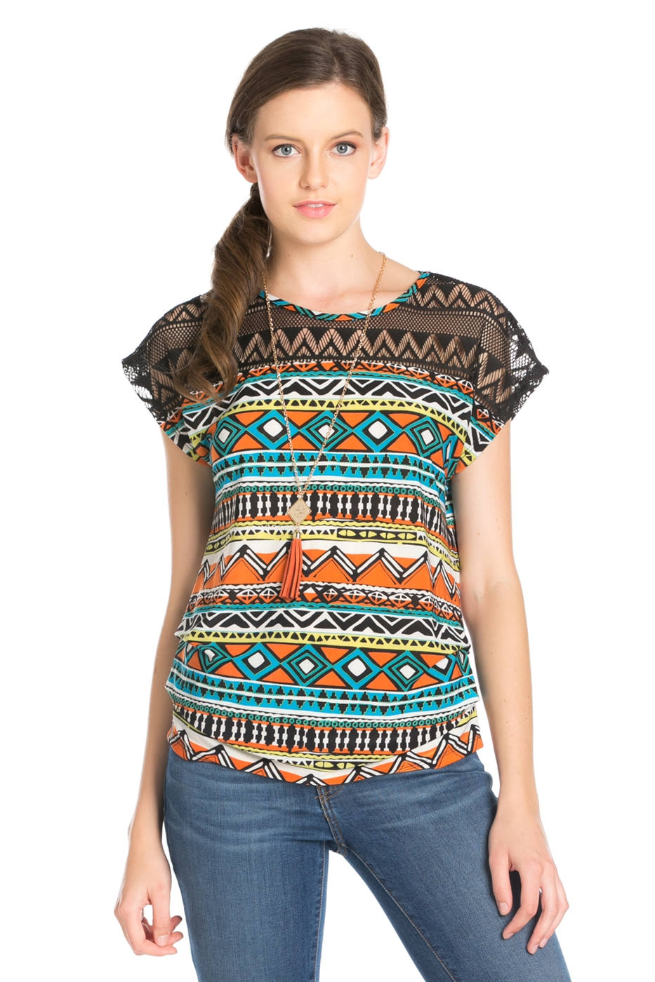 AZTEC PRINT SHORT SLEEVE TOP - orangeshine.com