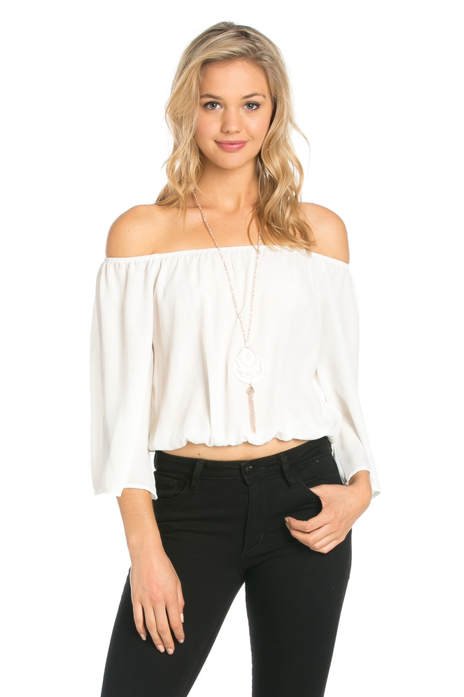 OFF SHOULDER TOP W/ NECKLACE - orangeshine.com