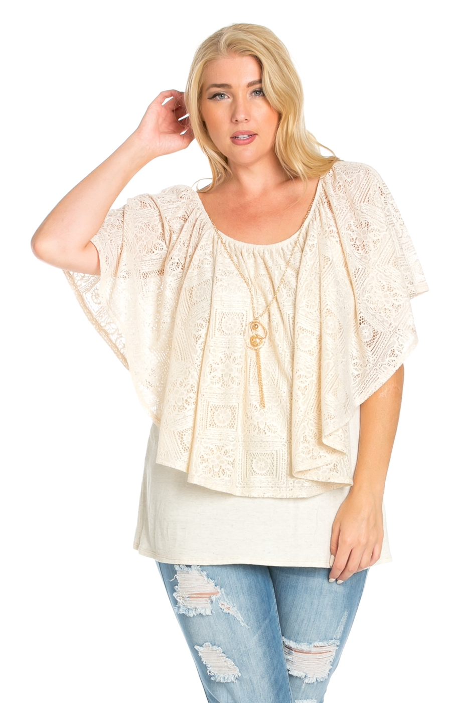 LACE OVERLAY TOP WITH NECKLACE - orangeshine.com