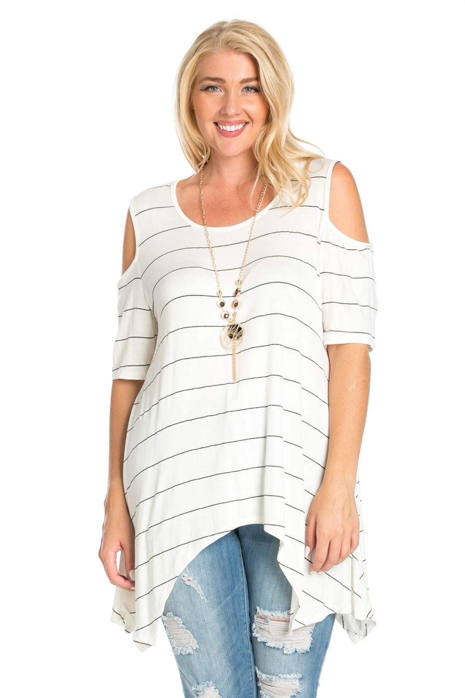STRIPED CAP SLEEVED TOP - orangeshine.com