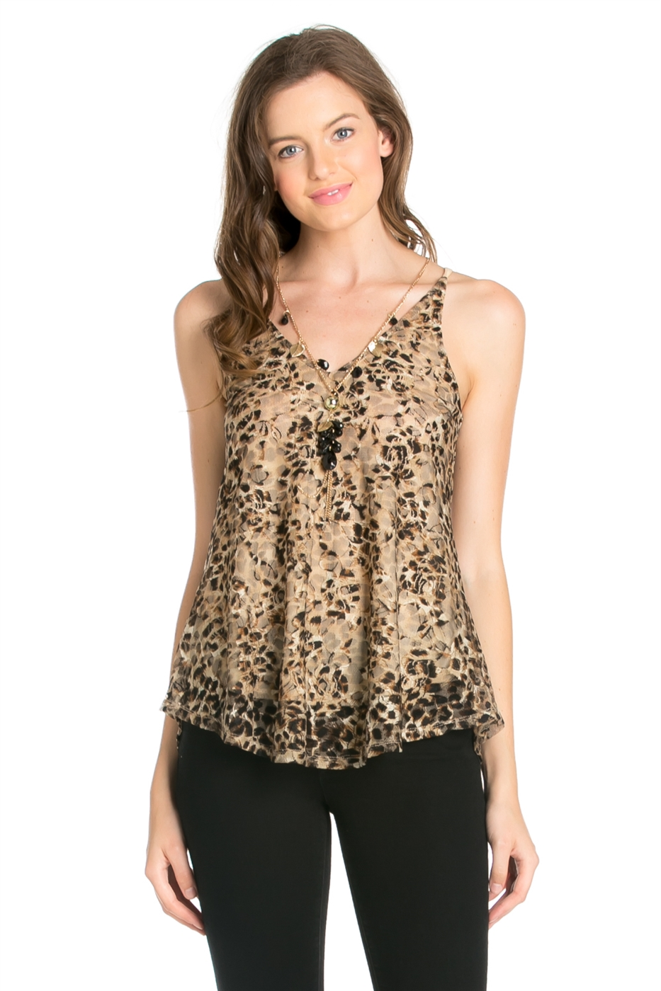 BEAD NECKLACE V NECK TOP - orangeshine.com