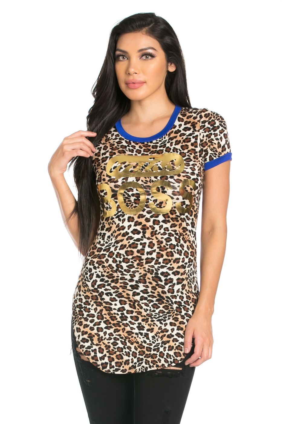 RSJ CHEETAH PRINT SHORT SLEEVE - orangeshine.com