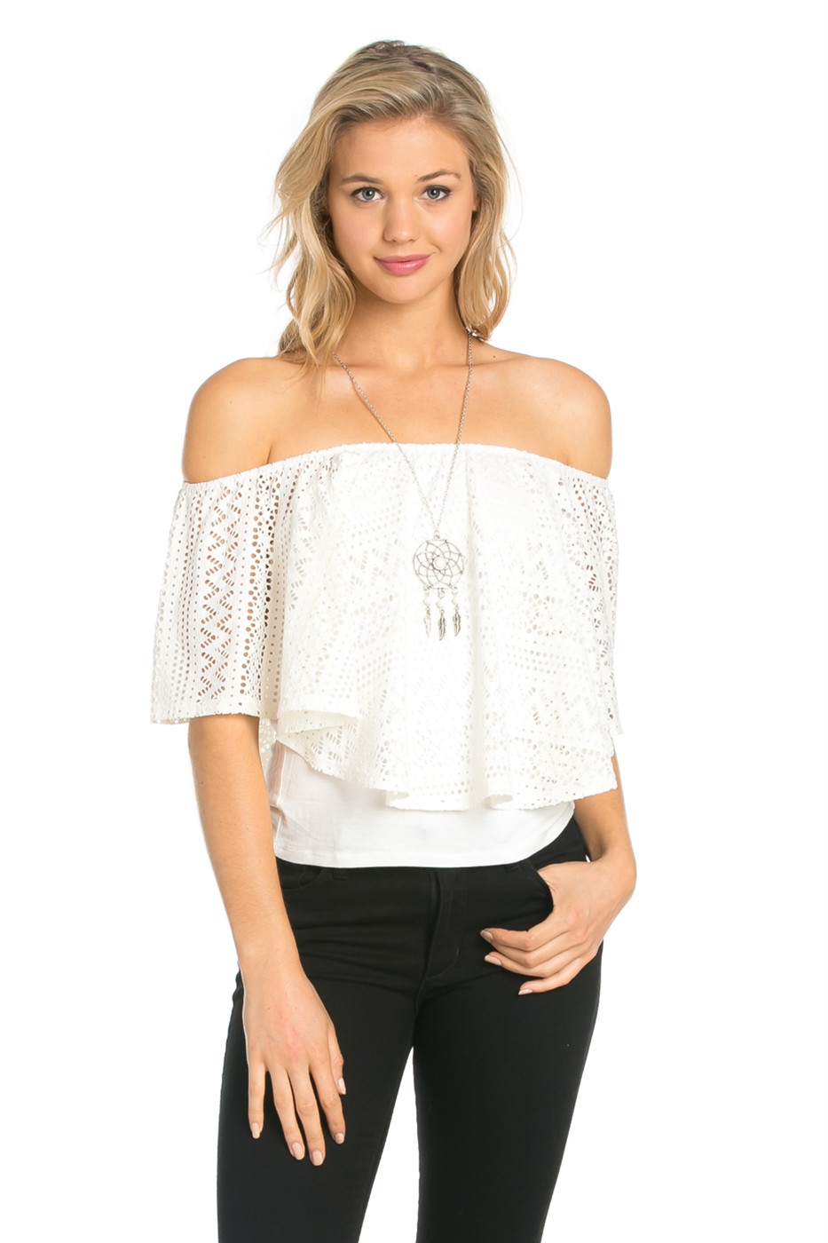 CROCHET SHORT SLEEVE TOP - orangeshine.com