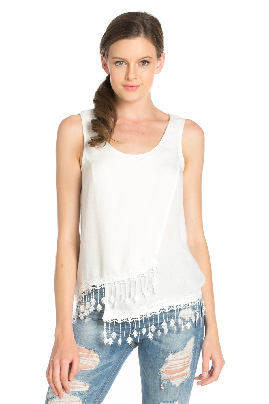SLEEVELESS SCOOPED NECK TOP - orangeshine.com