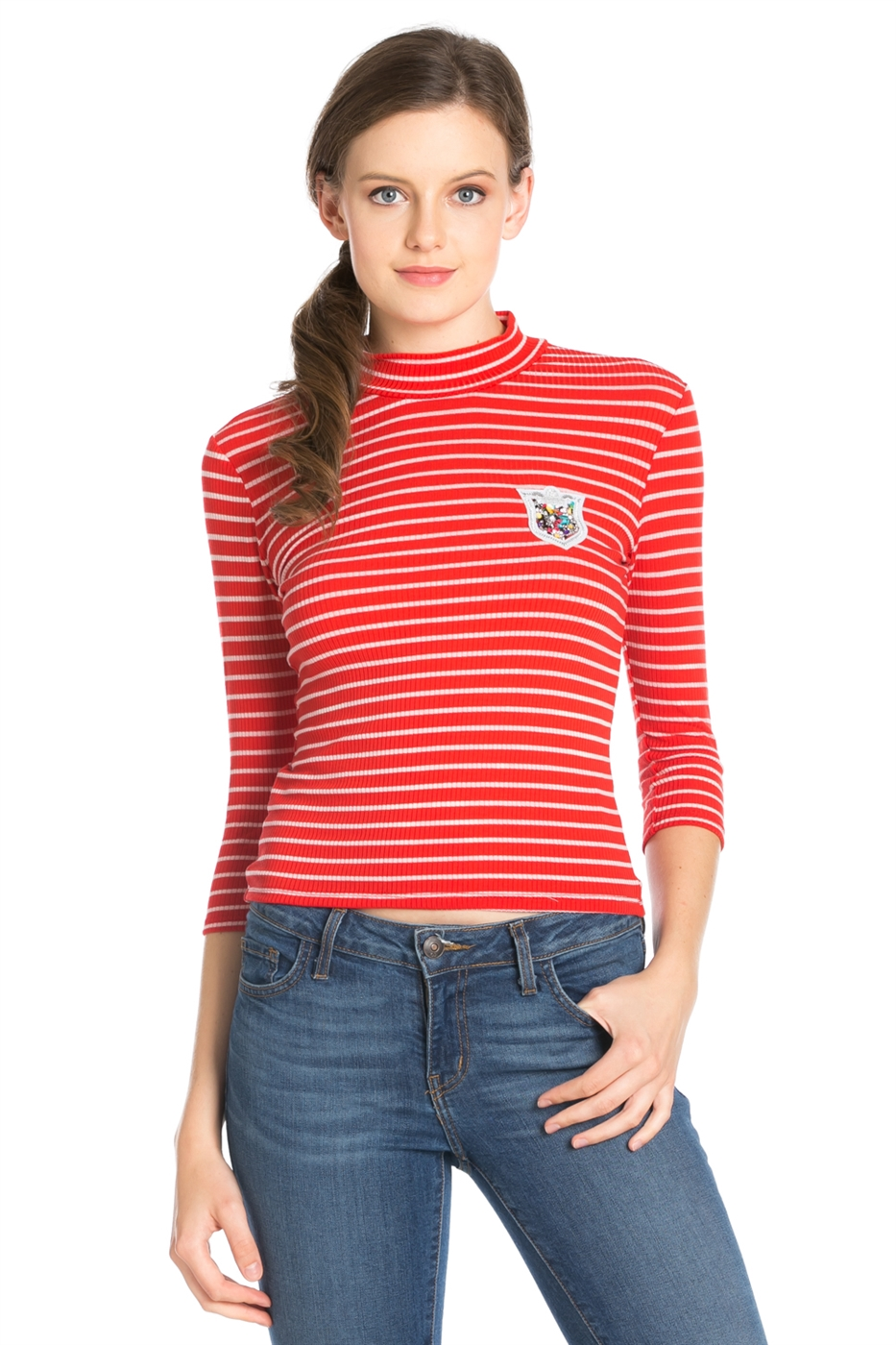 2 COLORS RIB STRIPE TOP - orangeshine.com