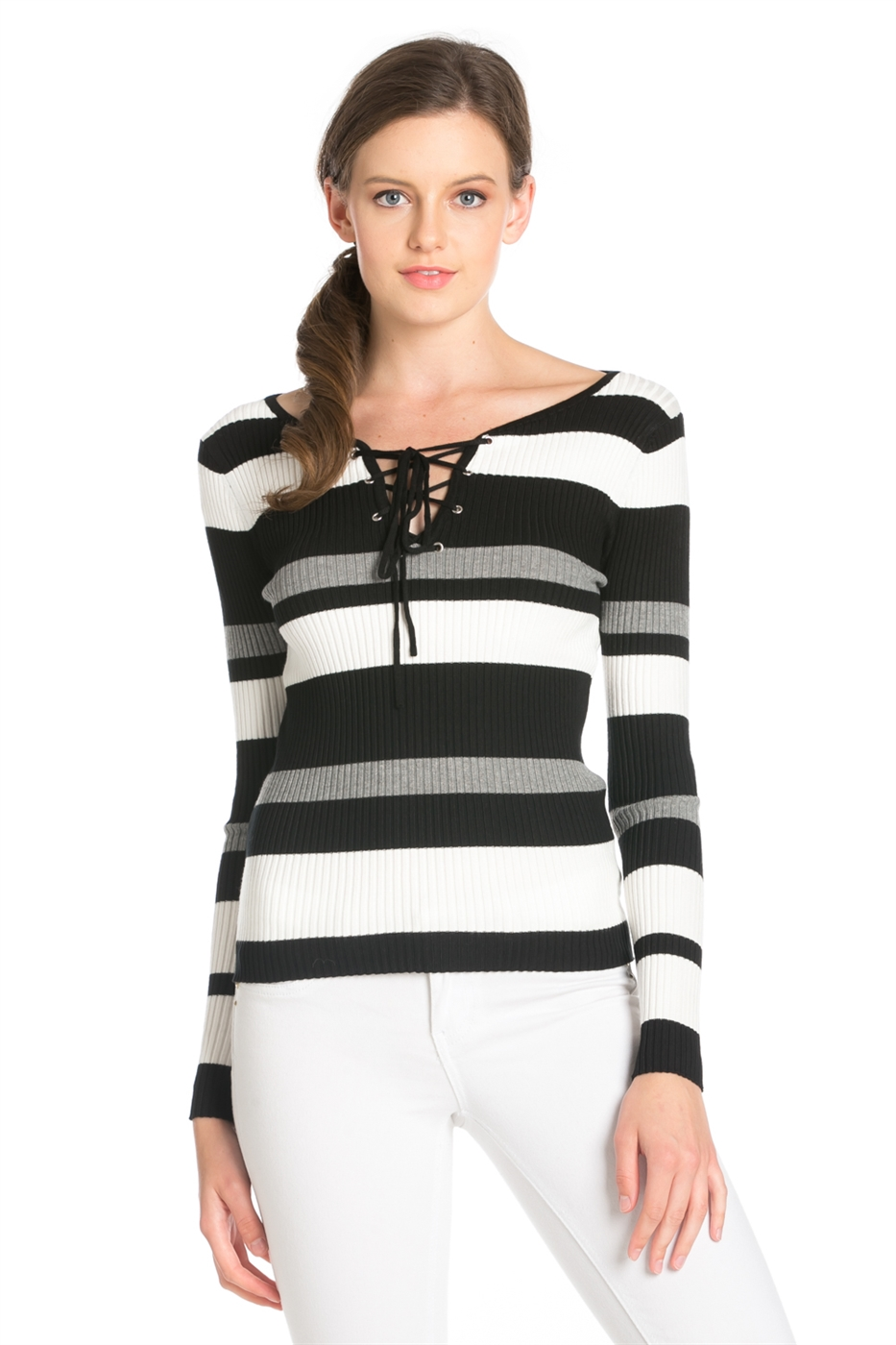 STRIPED FRONT EYELET TOP - orangeshine.com
