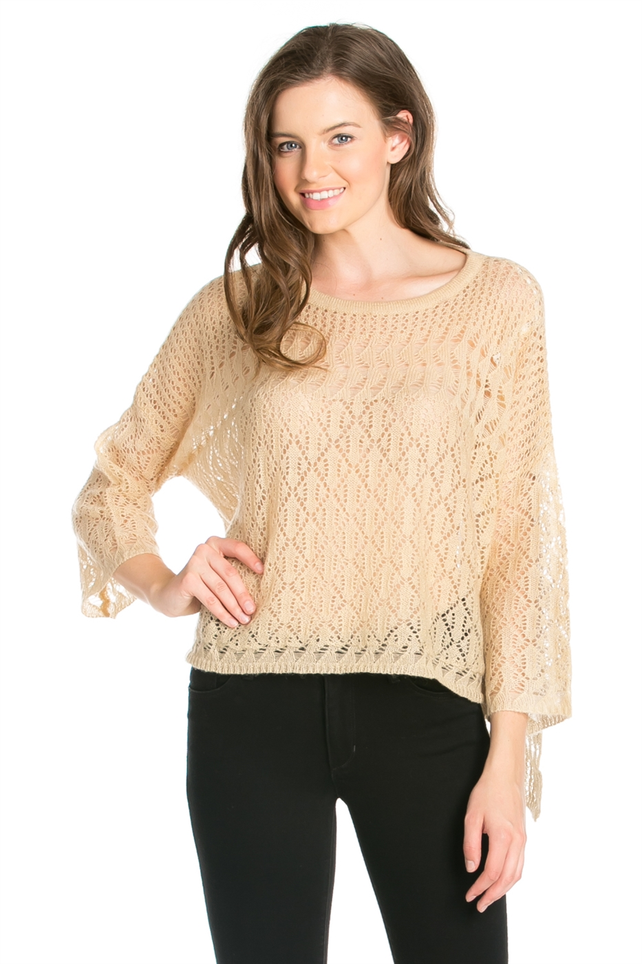 3/4 SLEEVE SWEATER TOP - orangeshine.com