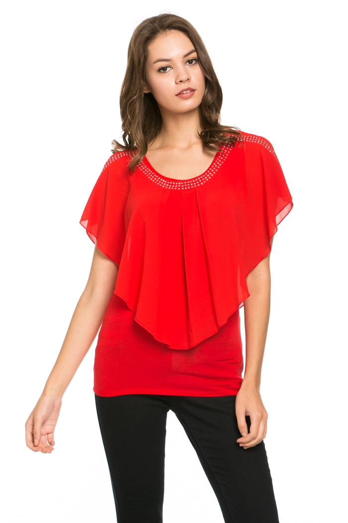 CHIFFON WITH STONE DETAIL TOP - orangeshine.com