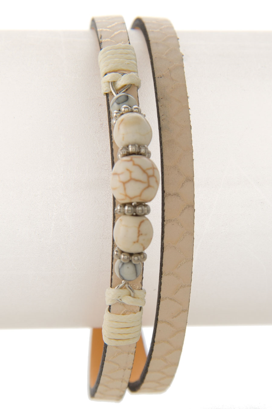 STONE BEADS LEATHER BRACELET - orangeshine.com