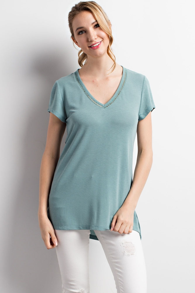 V-NECK SHORT SLEEVE TOP - orangeshine.com