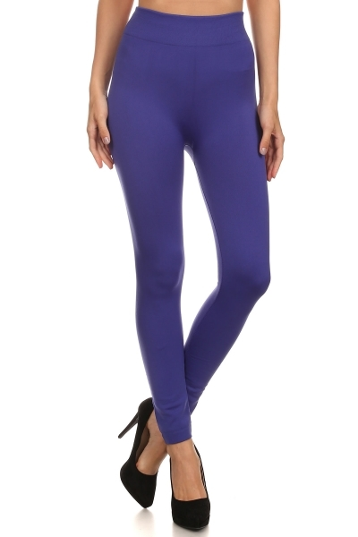 Solid Color Fleece Leggings - orangeshine.com
