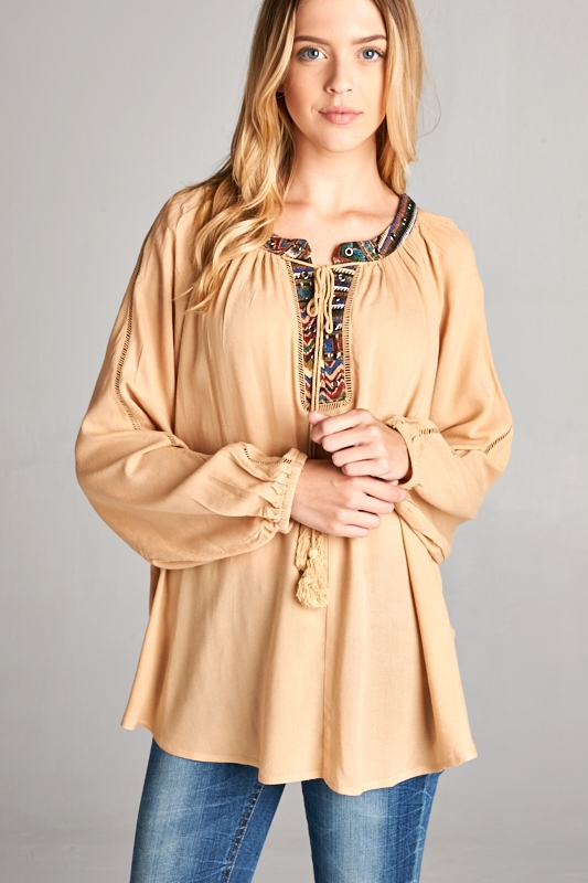 IMPORT LONG SLEEVE PEASANT TOP - orangeshine.com