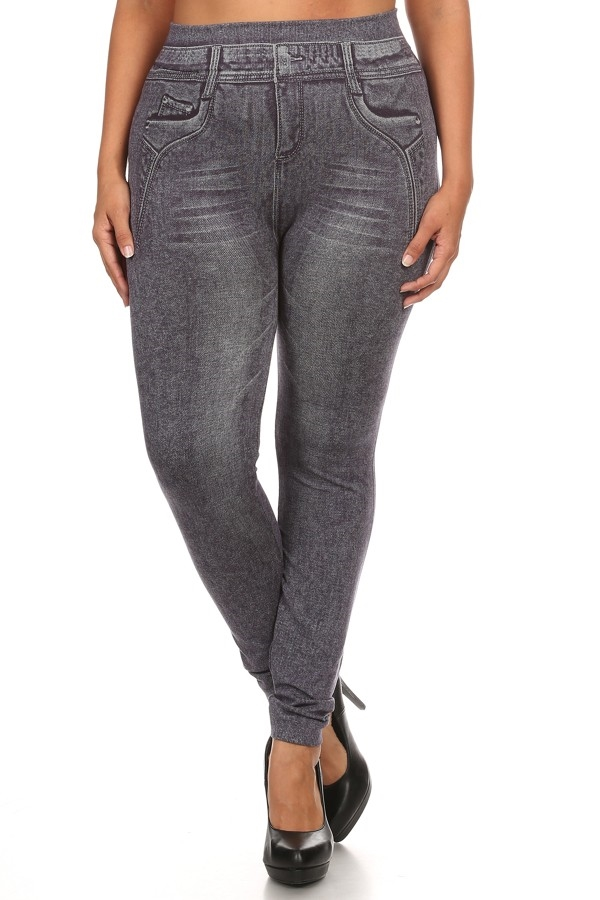 Plus Size Denim Jeggings - orangeshine.com