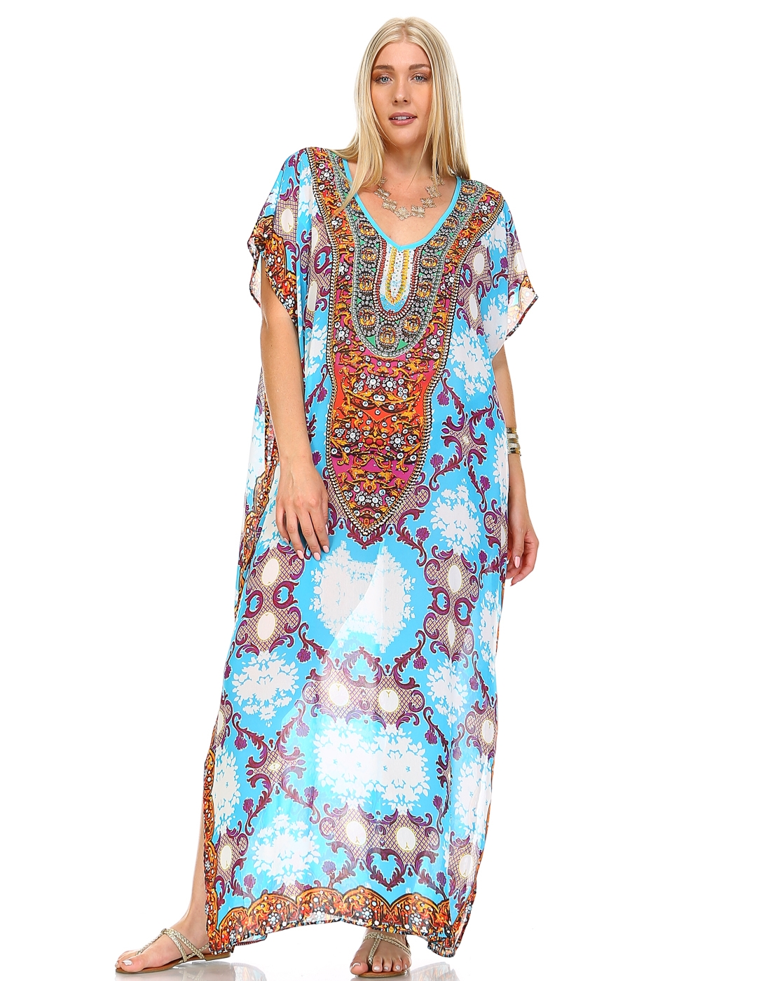 -Embellish Kaftan Maxi Dress - - orangeshine.com