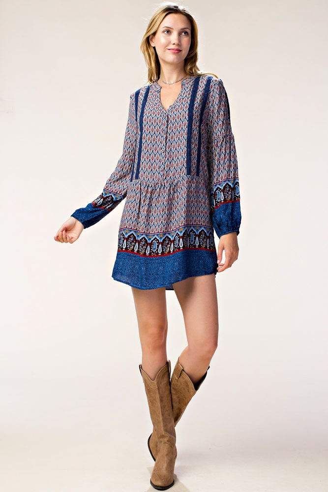 BOHO PRINT DRESS W/ LACE TRIM - orangeshine.com