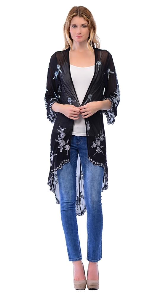 Womens Mesh Embroidered Kimono - orangeshine.com