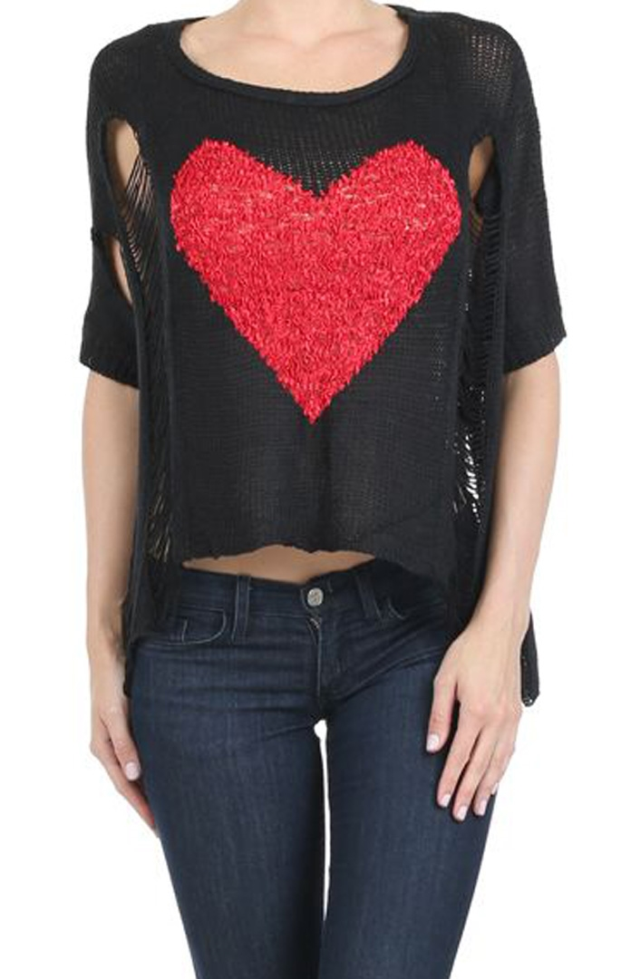 Crochet knit Heart Sweater - orangeshine.com