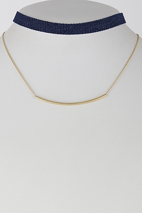 Denim Inspired Simple Choker - orangeshine.com