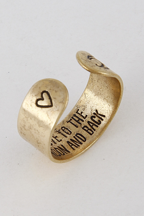 Heart and Moon Engraved Ring - orangeshine.com