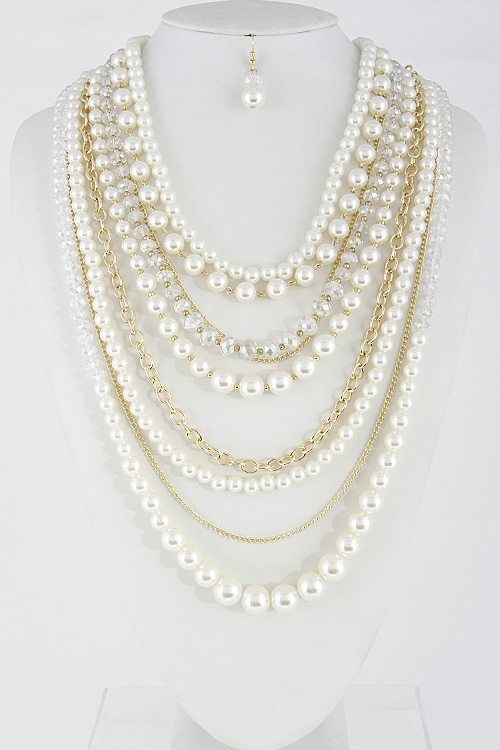 Elegant Faux Pearl Necklace - orangeshine.com