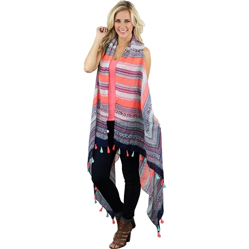 Vest with Colorful Tassels - orangeshine.com