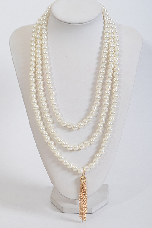Faux Pearl Tassel Necklace - orangeshine.com