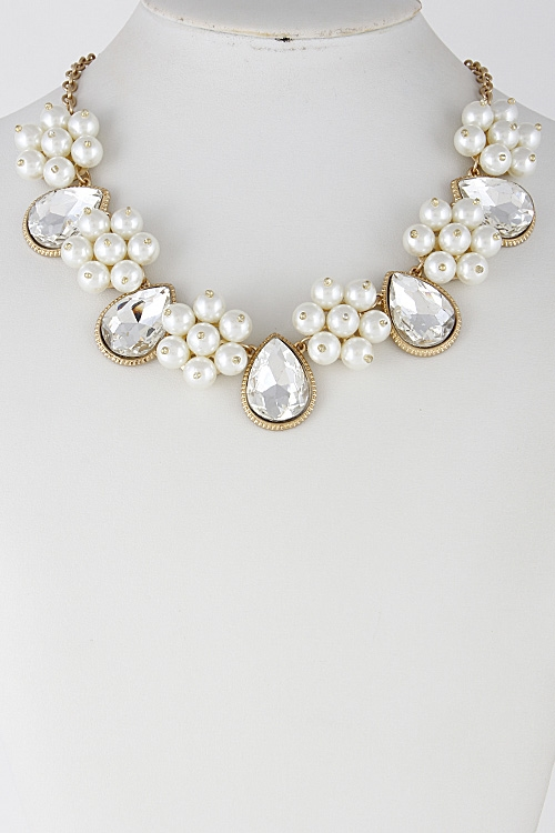 Faux Pearl Tear Drop Necklace - orangeshine.com