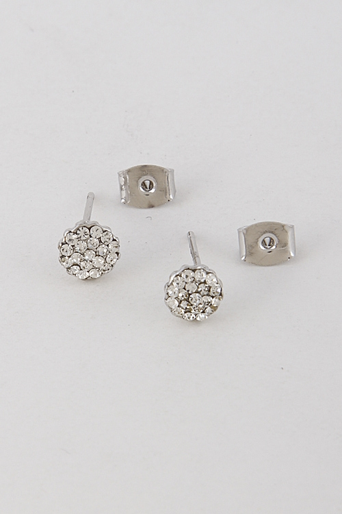 Rhinestone Circle Earrings - orangeshine.com