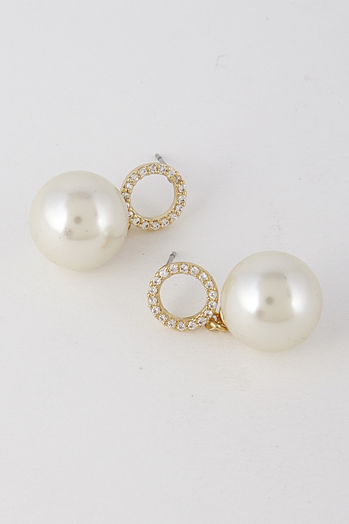 Faux Pearl with Circle Earring - orangeshine.com