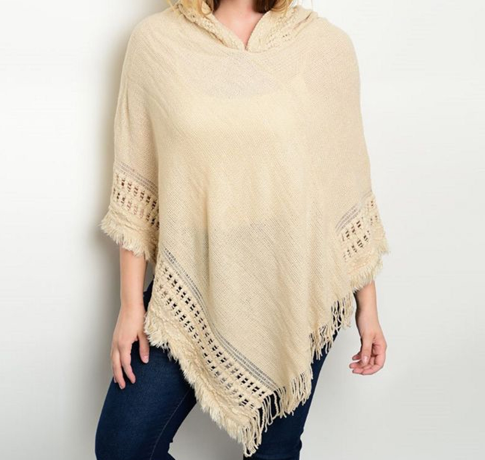 Diagonal Hooded Poncho - orangeshine.com