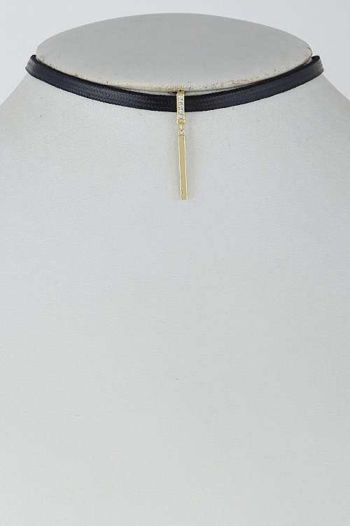 Thin Choker with Solid Bar - orangeshine.com