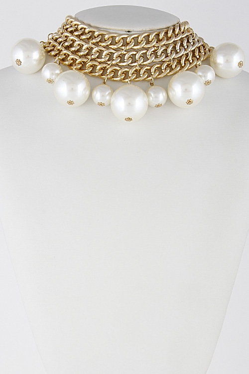 Faux Pearl Choker Necklace Set - orangeshine.com
