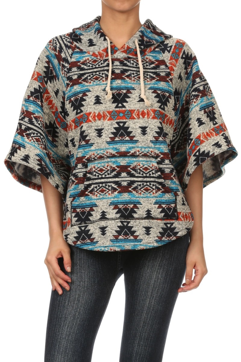 Ponchio Fleece Lined Aztec - orangeshine.com