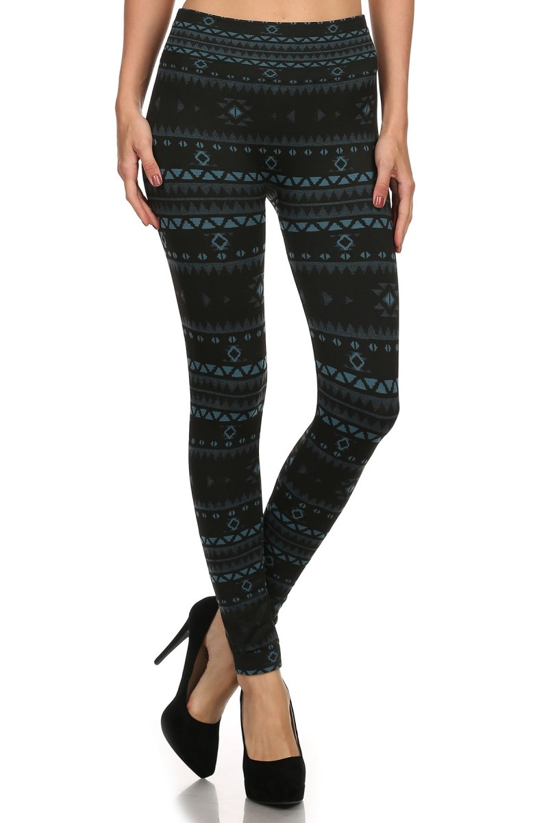 Fleece Leggings Tribal Aztec  - orangeshine.com