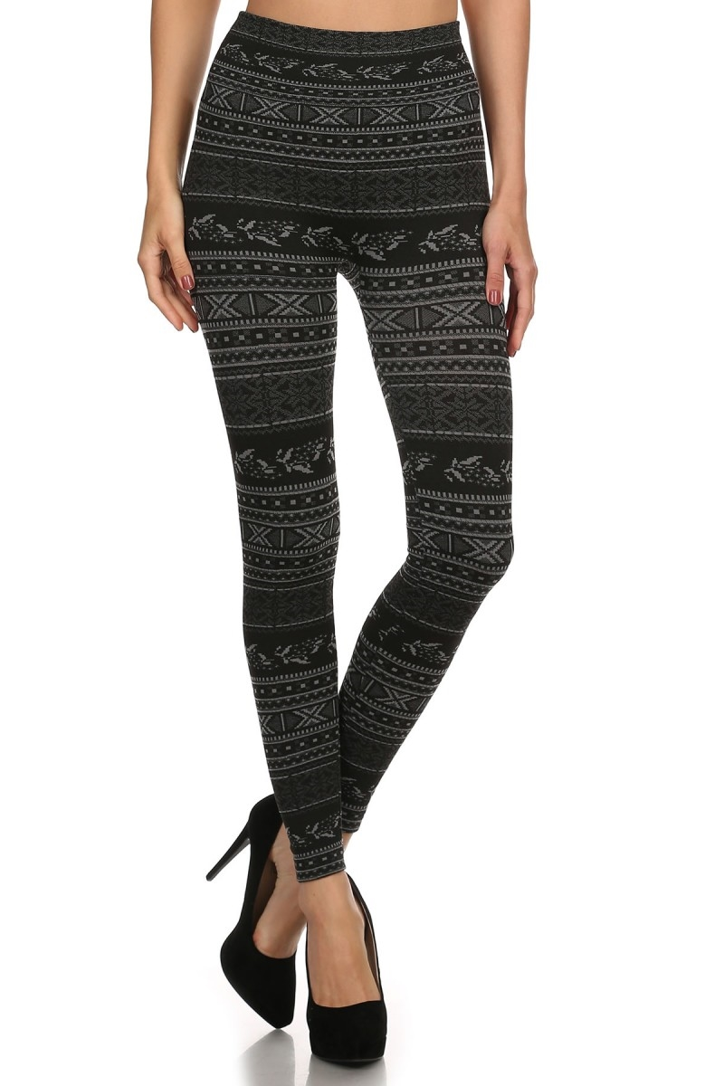 Christmas Print Fleece Legging - orangeshine.com