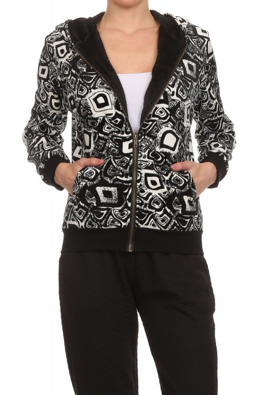 Tribal FUR Lined Hoodie Jacket - orangeshine.com