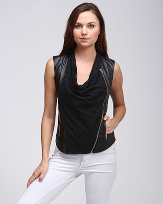 FAUX LEATHER COWL NECK ZIPPER TOP - orangeshine.com