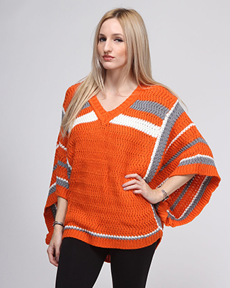 SOLID STRIPED PONCHO - orangeshine.com