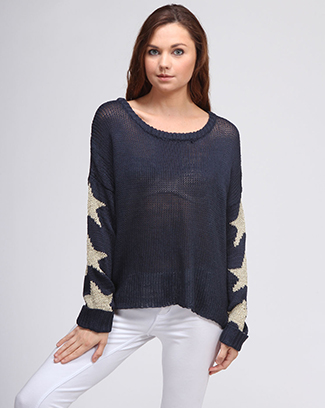 SLEEVE STAR PRINT SWEATER - orangeshine.com