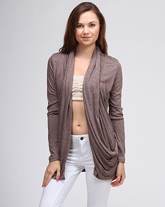 DRAPED SOLID CARDIGAN - orangeshine.com