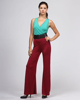 SLEEVELESS JUMPSUIT WITH BELT - orangeshine.com