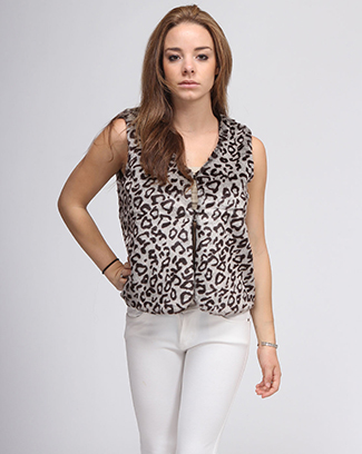 ANIMAL PRINT FUR VEST - orangeshine.com