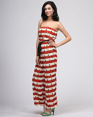 CAT STRIPED JUMP SUIT - orangeshine.com
