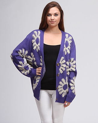 FLOWER KNIT CARDIGAN - orangeshine.com