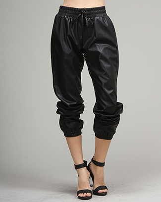 PU PANTS W/ WAIST ADJUSTABLE STRING - orangeshine.com