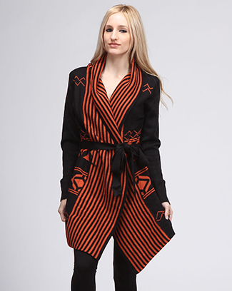 STRIPED LONG CARDIGAN - orangeshine.com